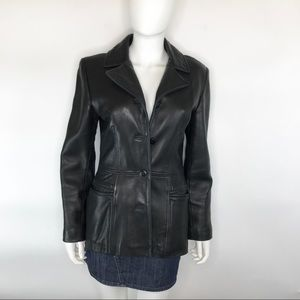 BP Genuine Lamb Skin Black Leather Blazer Jacket